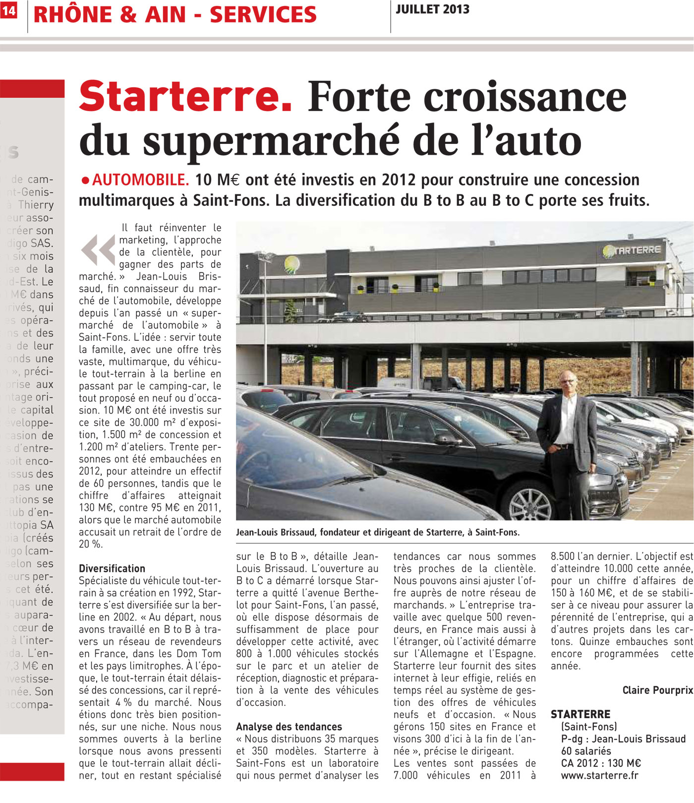 presse le journal des entreprises on parle de starterre. Black Bedroom Furniture Sets. Home Design Ideas